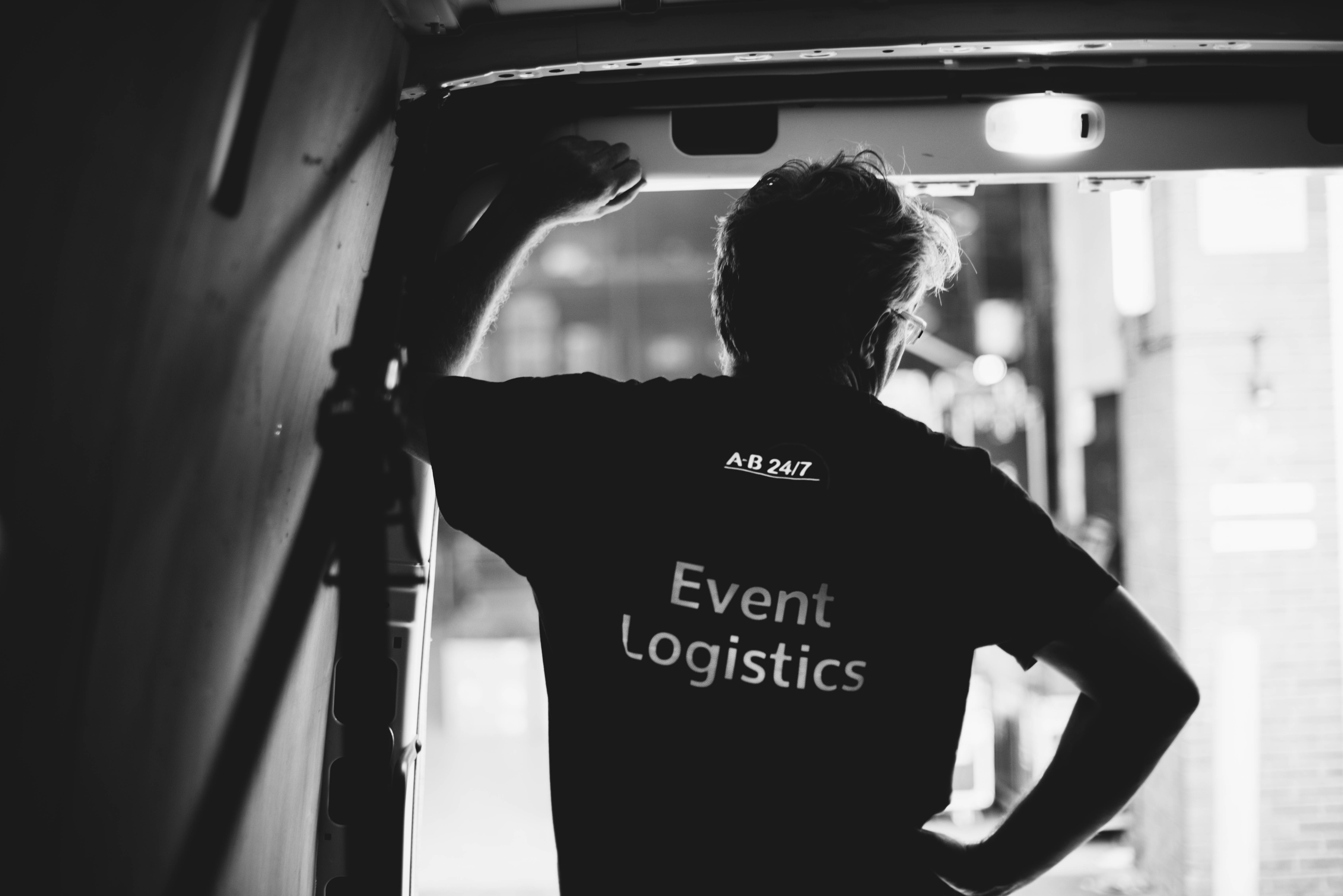 ab247 Event Logistics director Tony in a delivery truck