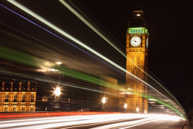 Photograph of the House of Commons and Big Ben at night