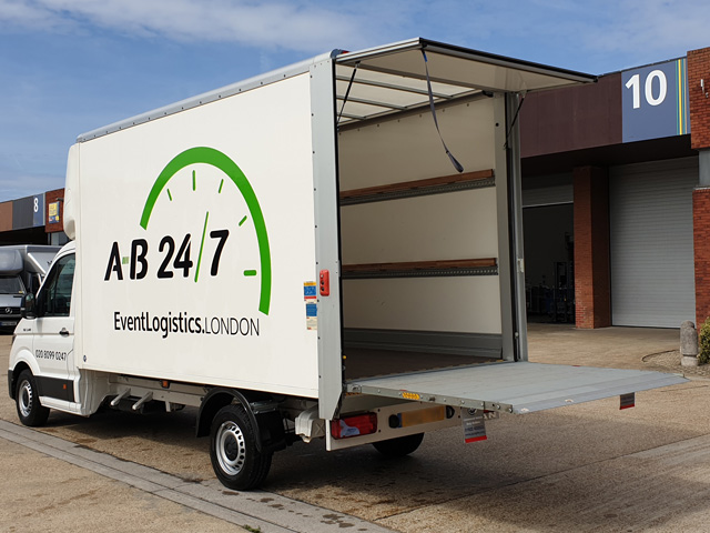 Photo showing the rear of AB247's new Luton van with rear doors open