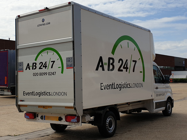 Photo showing the rear of AB247's new Luton van from the rear