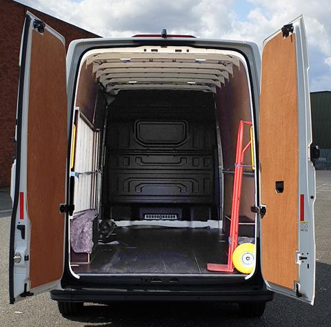 Photo showing an Event Van with rear doors open to show van capacity