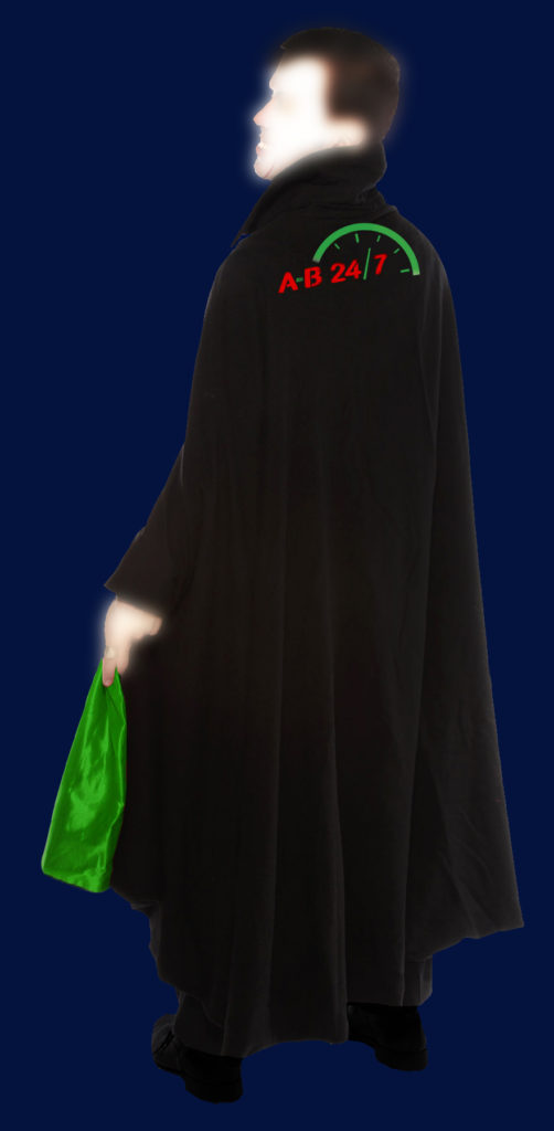 photo of a vampire cape with AB247 logo