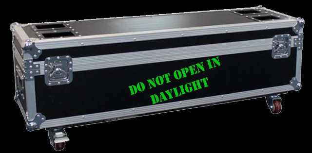 photo of flightcase inscribed do not open in daylight