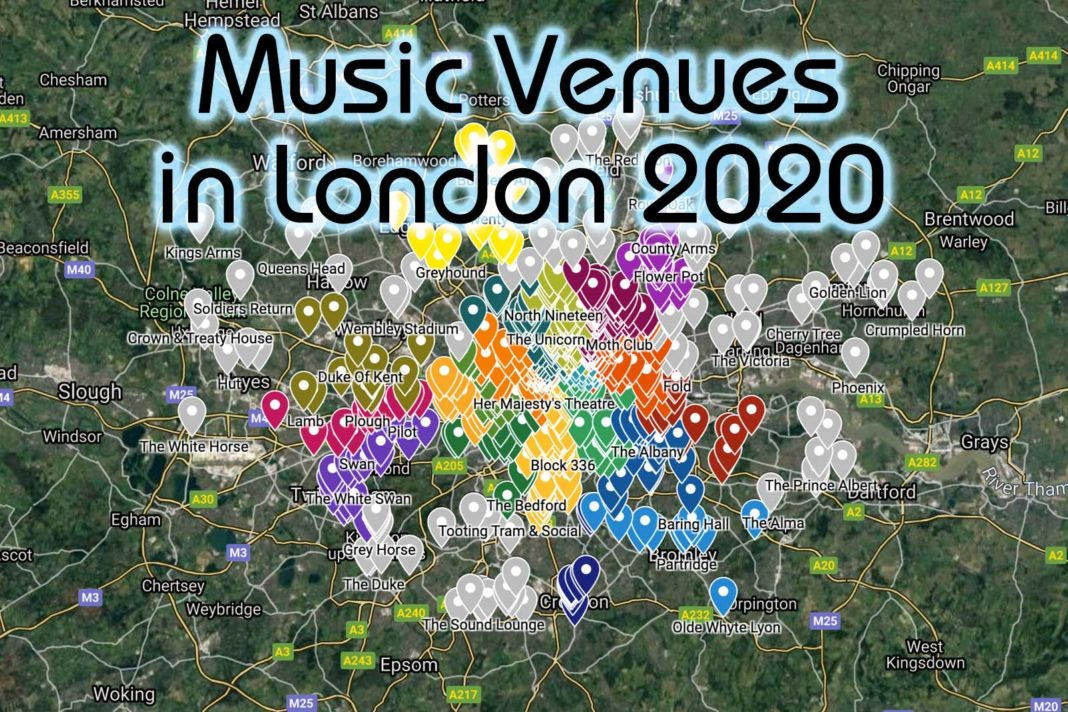 Music venues in London Map