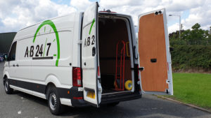 Ab247 Delivery Van with Rear Doors Open